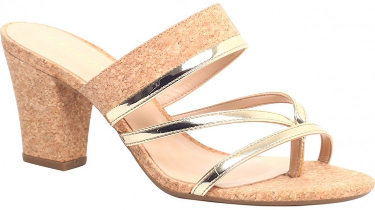 Sandal Medium Heel Golden/Cork