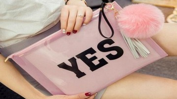 YES Pink Transparent Clutch