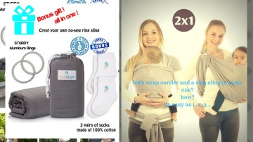Baby Wrap Carrier&Sling in one